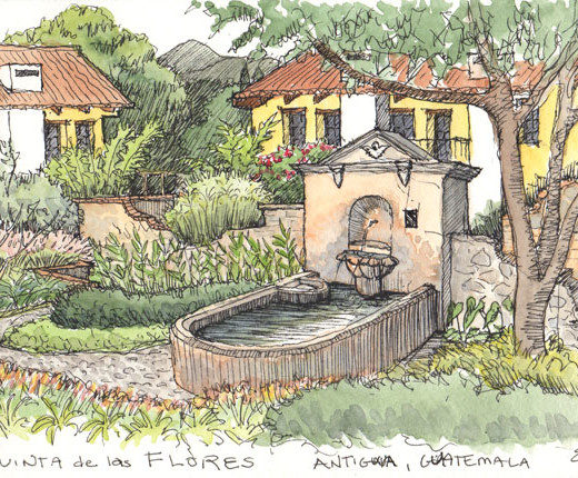 Sketch of fountain at Quinta de Las Flores, Antigua, Guatemala © Erin Lau