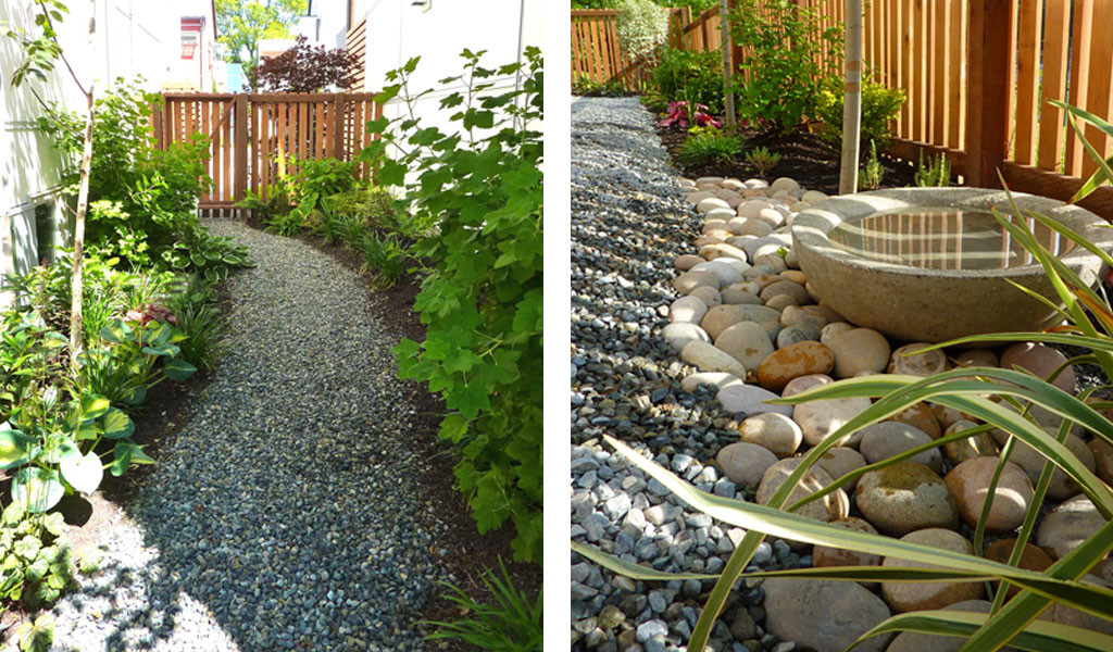Side yard path and concrete water bowl.