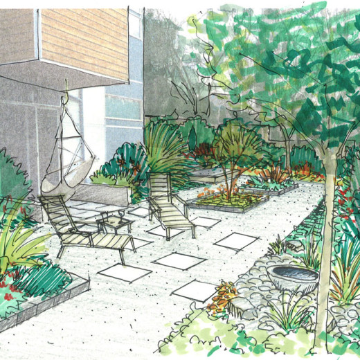Sketch for design of the townhouse garden.