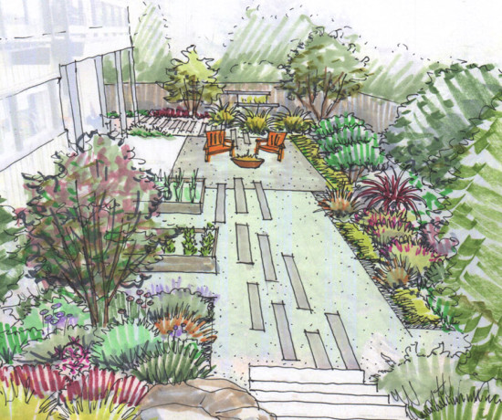 Colored Landscape Design Sketch