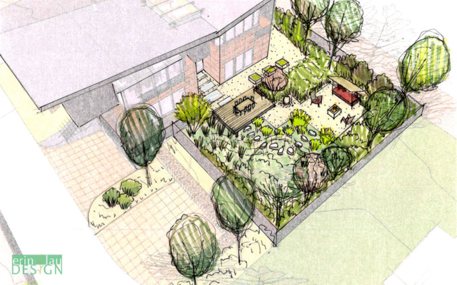Bird's eye view of back yard with rain garden and seating areas sketch