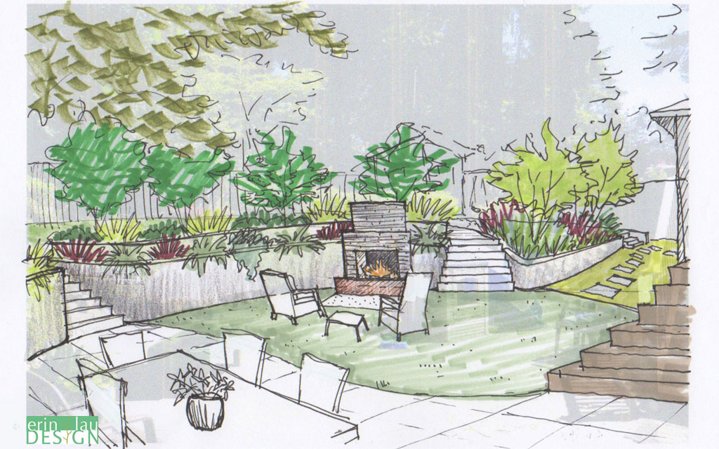 Garden creation how to draw a perspective sketch for Outdoor landscape plans
