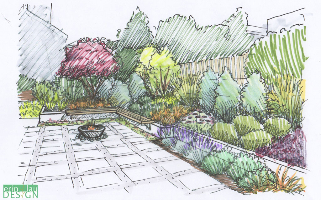 patio design with built in bench and short retaining wall - Garden Design Drawing