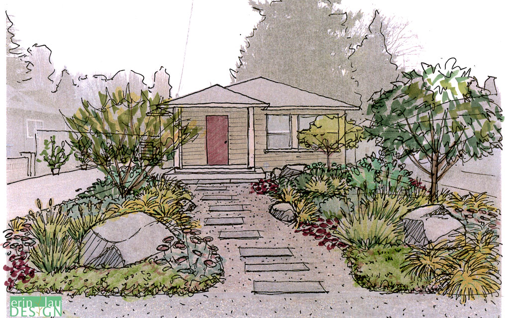 Front entry path sketch