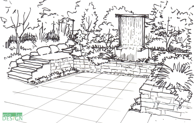 Vertical waterfall patio sketch