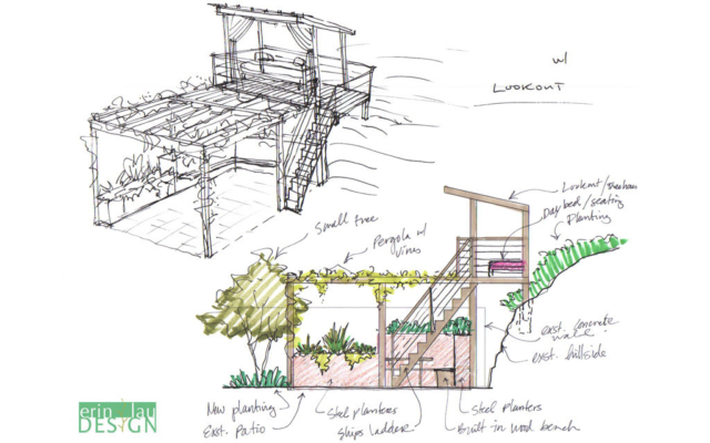 Pergola with upstairs Lookout sketch