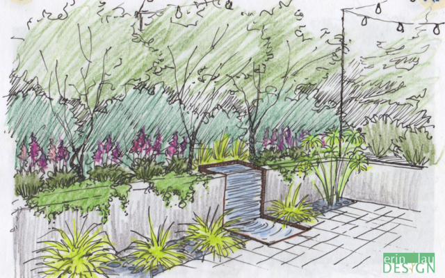 Vertical wall water feature sketch