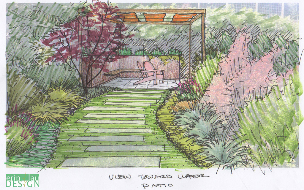 Path leading toward covered patio sketch
