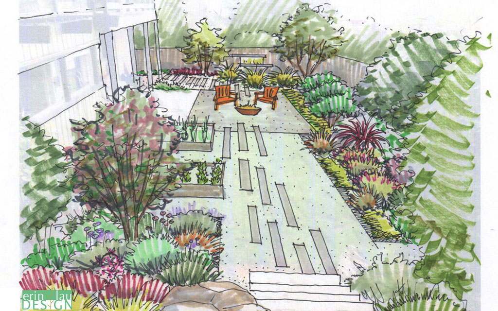 landscape design drawing. gravel garden with fire pit area and raised beds sketch landscape design drawing g