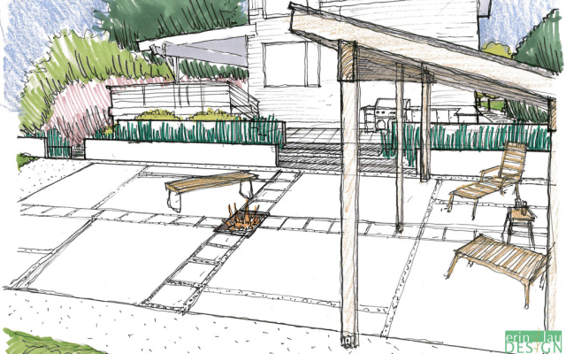 Pergola and firepit sketch