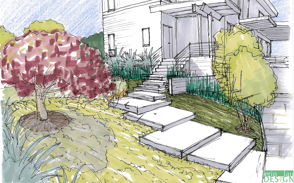 Modern entry stairs sketch