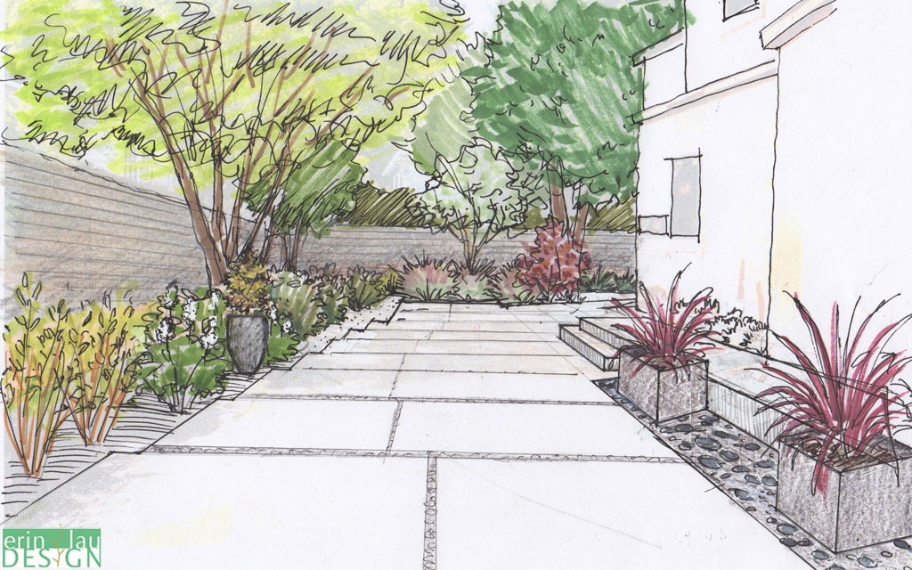 Landscape sketch drawntogarden for Garden landscape drawing