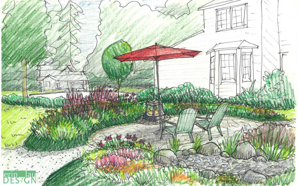 Mounded planting patio_design_sketch