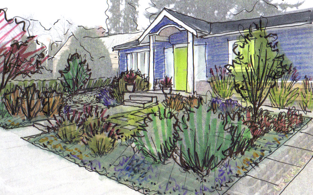 Quick Sketch of the front yard to understand layering.